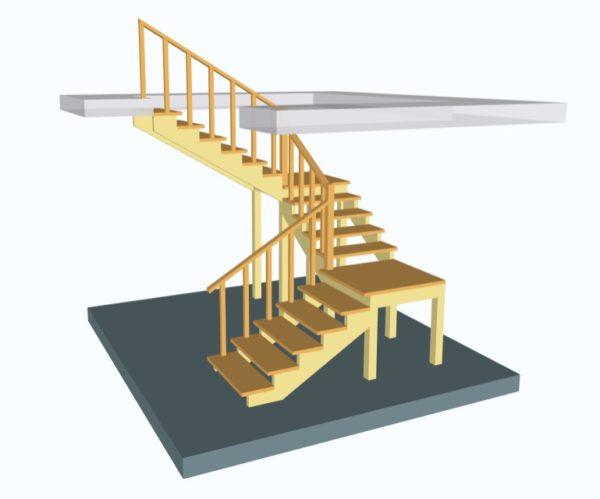 Лестница поворотная на 180 трехмаршевая