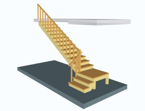 Лестница поворотная на 90 с площадкой