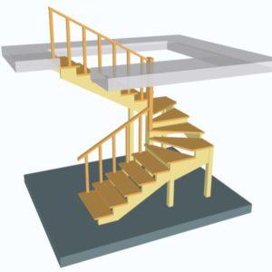 Лестница поворотная на 180 с поворотными (забежными) ступенями