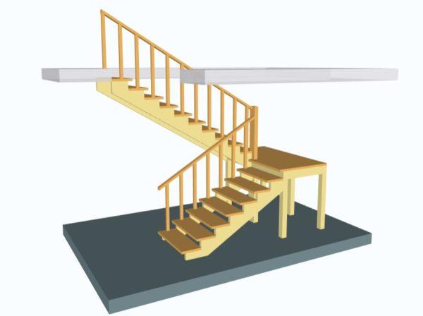 Лестница поворотная на 180 с площадкой