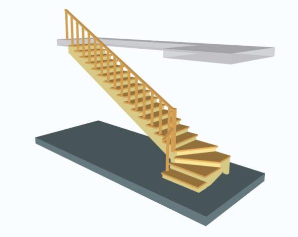 Лестница поворотная на 90 с поворотными (забежными) ступенями